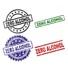 Grunge textured zero alcohol seal stamps vector