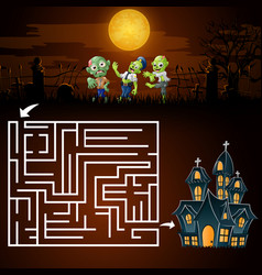 Halloween maze games find the zombies to the ghost vector