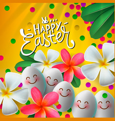 Happy easter card with eggs and flowers vector