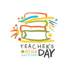Happy teachers day greeting card with educational vector