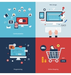 Icons for communication web design programming vector image