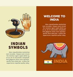india travel symbols and tourism landmarks vector image