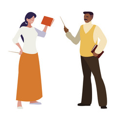Interracial teachers couple avatars characters vector