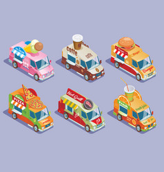 Isometric food trucks collection vector