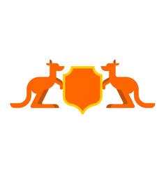 Kangaroo and shield heraldic symbol australian vector