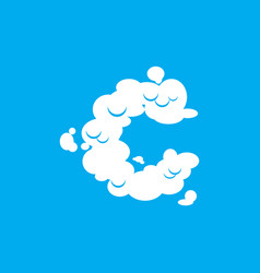 letter c cloud font symbol white alphabet sign on vector image