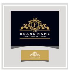Letter f logo design concept royal luxury gold vector