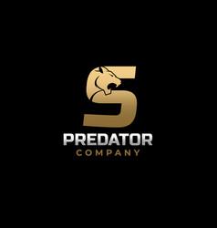 Letter s tiger predator logo design vector