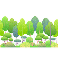 line horizontal seamless border with springtrees vector image