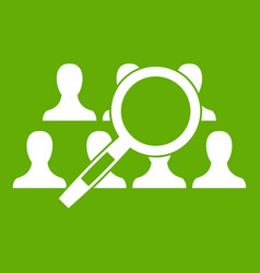 magnifying glass searching icon green vector image