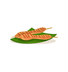Malaysian chicken satay on wooden sticks vector