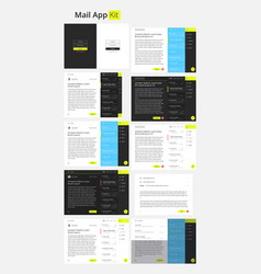 material design mail app kit for tablet and mobile vector image