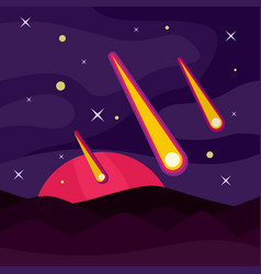 meteorite asteroid banner concept flat style vector image