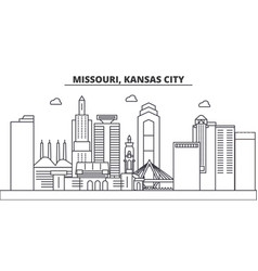 Missouri kansas city architecture line skyline vector