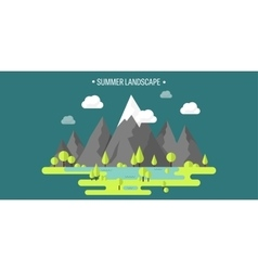 Mountain peak Summer spring landscape Nature vector