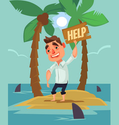 Office worker man character lost desert island vector