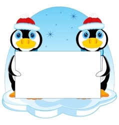 Penguins with poster vector image
