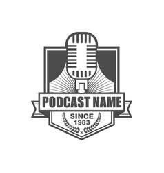 podcast logo icon design vector image
