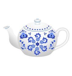 Porcelain teapot for tea set ornate in vector