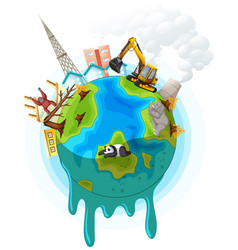 Poster design with global warming problem vector
