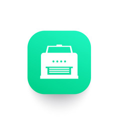printer icon sign on green shape vector image