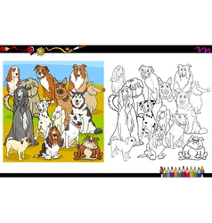 Purebred dogs coloring book vector