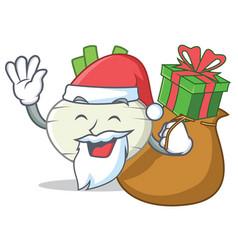 santa with gift turnip mascot cartoon style vector image