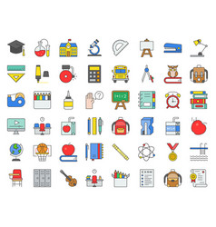 school and education related icon set filled vector image