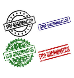 Scratched textured stop discrimination stamp seals vector