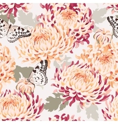 Seamless japanese chrysanthemum and butterfly vector