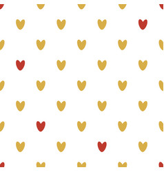 seamless pattern of gold and red hearts vector image