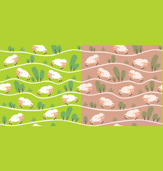 Seamless pattern set with funny sheeps onthe hills vector