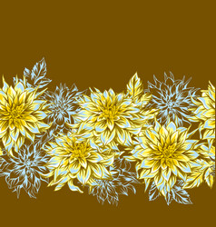 Seamless pattern with fluffy yellow dahlias vector