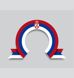 Serbian flag rounded abstract background vector