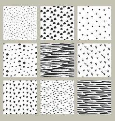 set hand drawn ink seamless patterns endless vector image