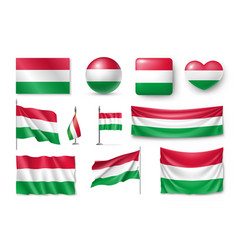 set hungary flags banners banners symbols flat vector image