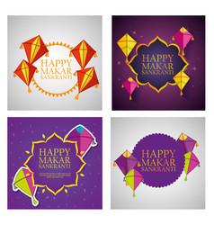 Set makar sankranti celebration with kites and vector