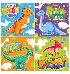 Set of different cute dinosaur posters vector