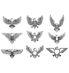 set of eagle icons isolated on white design vector image