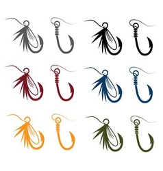 Set of fishing hooks and lures vector
