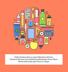 Set of school supplies or stationery back vector