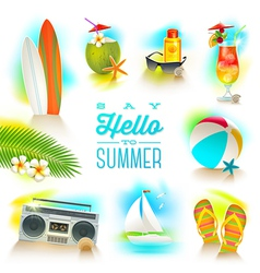 Set of summer and beach vacations elements vector