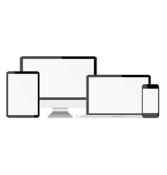 set with light displays computer notebook tablet vector image