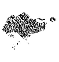 Singapore map gdp mosaic of dollar and dots vector