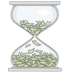 Squandering money in an hourglass vector