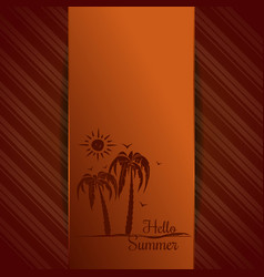 Summer orange background with palm trees vector
