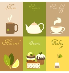 Tea mini posters set vector image