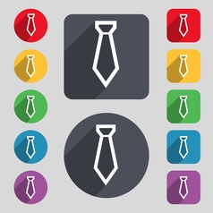 Tie icon sign A set of 12 colored buttons and a vector image