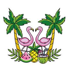 tropical summer pink flamingo cartoon vector image