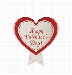 Valentines Day Heart Emblem with Text and Ribbon vector